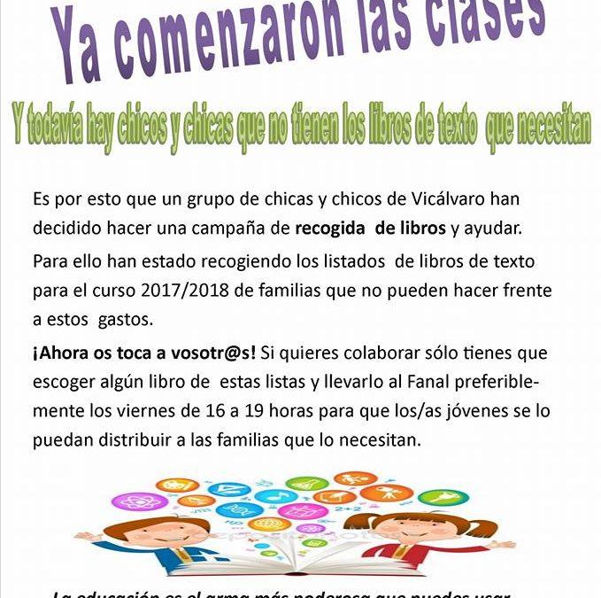 Apoya la campaña de recogida de libros de lxs jóvenes de Vicálvaro!